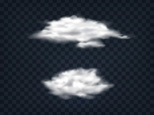Zestaw półprzezroczystych białych chmur.