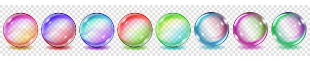 Zestaw półprzezroczystych kolorowych kulek z odblaskami i cieniami na przezroczystym tle. przezroczystość tylko w formacie wektorowym