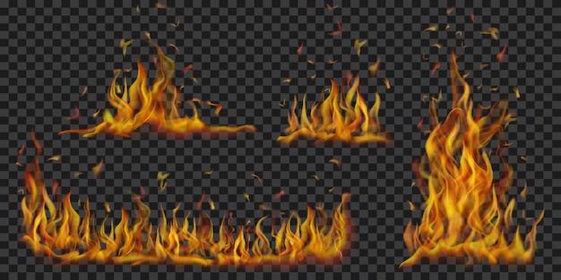 Zestaw półprzezroczystych płonących ognisk płomieni i iskier na przezroczystym tle. do stosowania na ciemnym tle. przezroczystość tylko w formacie wektorowym