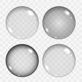 Zestaw półprzezroczystych pustych szklanych kulek lub kół