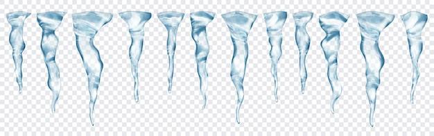Zestaw półprzezroczystych realistycznych szarych sopli o różnych długościach na przezroczystym tle. przezroczystość tylko w formacie wektorowym