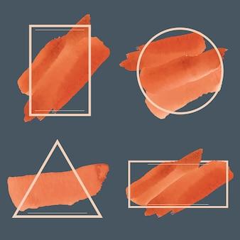 Zestaw pomarańczowy akwarela transparent wektor