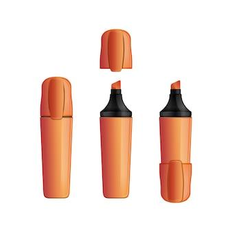 Zestaw pomarańczowy marker do wnętrz i na zewnątrz z nasadką filcowe pióro. flamaster.
