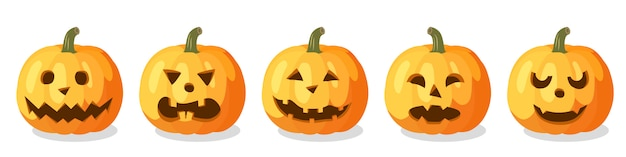 Zestaw pomarańczowych dyni na halloween
