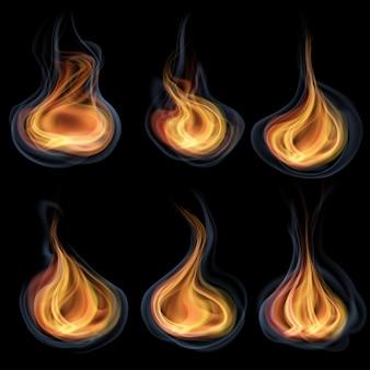 Zestaw pomarańczowych języków ognia