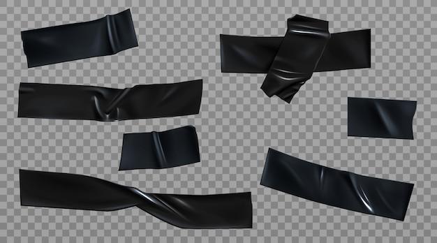 Zestaw pomarszczonych czarnych pasków izolacyjnych