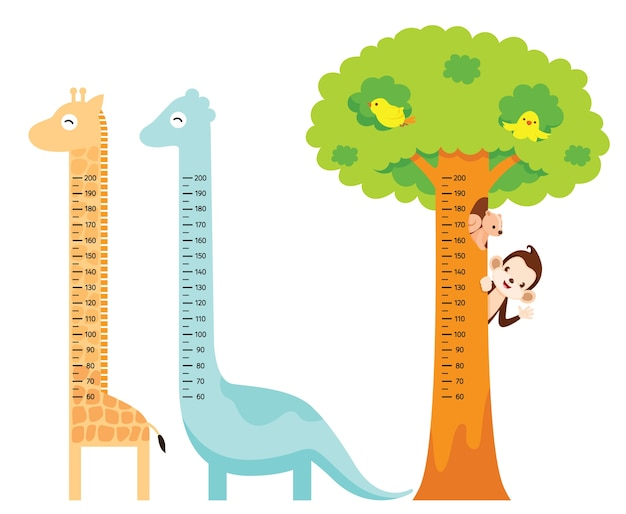 Zestaw pomiaru wysokości z żyrafą, dinozaurem, ptakiem, małpą, wiewiórką i drzewem