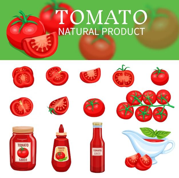Zestaw pomidorów i sosów