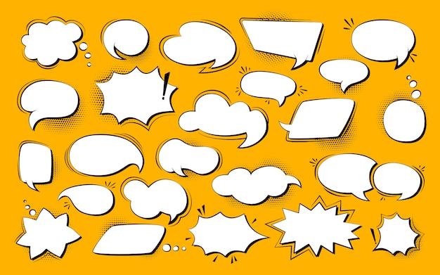 Zestaw pop-artu, komiks dymek. retro puste elementy projektu okno dialogowe chmury półtonów kropka tło