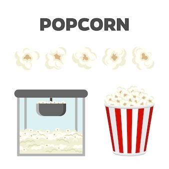 Zestaw popcornu na białym tle