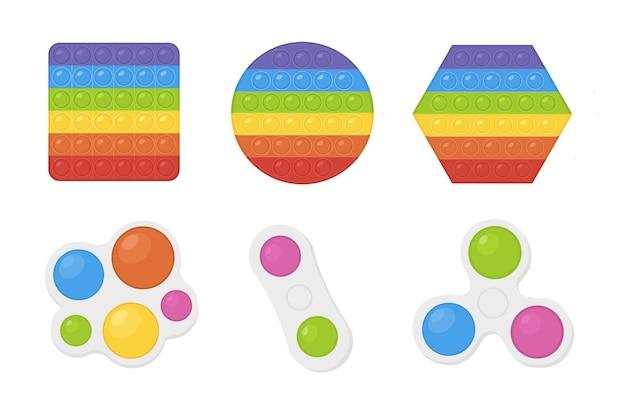 Zestaw popularnych pop to fidgets w kolorach tęczy i prostej ilustracji zabawki ręcznej z dołeczkami
