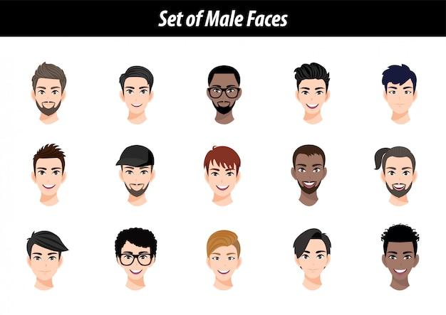 Zestaw portretów avatar męskiej twarzy na białym tle. międzynarodowi mężczyzna ludzie przewodzą płaską wektorową ilustrację.