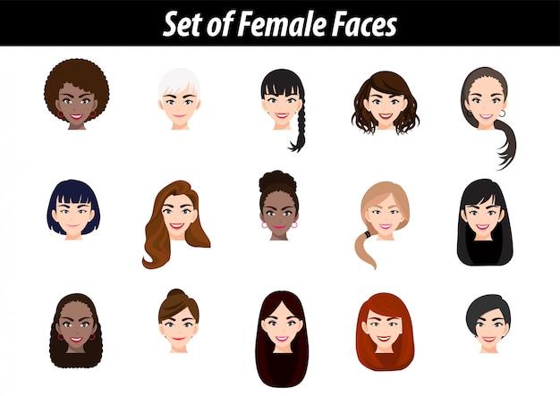 Zestaw portretów avatar twarz kobiety na białym tle. międzynarodowi kobiet ludzie przewodzą płaską wektorową ilustrację.
