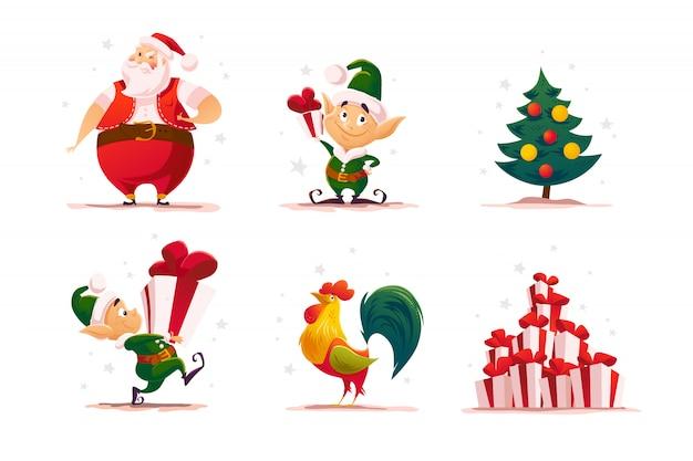 Zestaw portretów elfa bożego narodzenia. postać elfa świętego mikołaja. ilustracja stylu kreskówki. szczęśliwego nowego roku, element merry xmas. dobry na kartkę z gratulacjami, ulotkę, plakat.