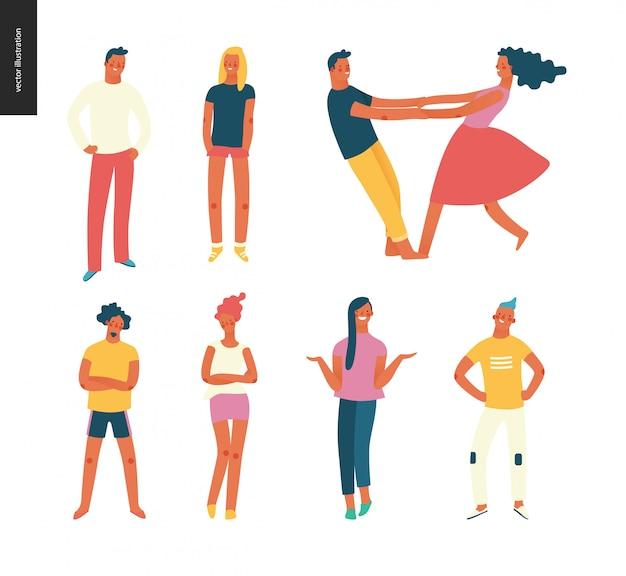 Zestaw portretów jasnych ludzi - młodych mężczyzn i kobiet