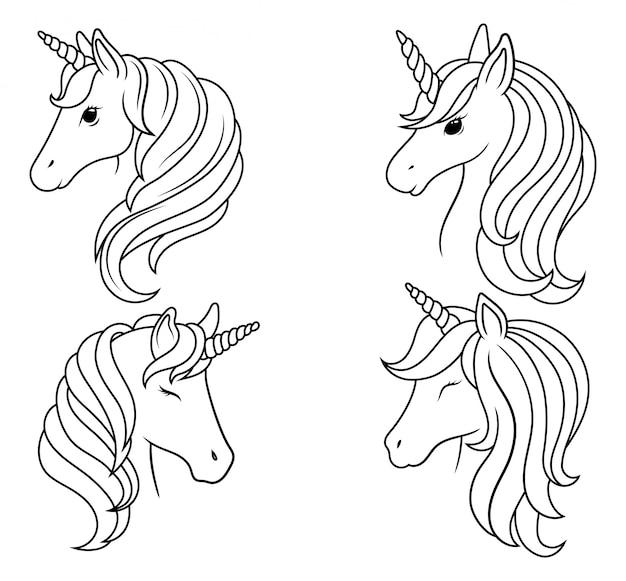 Zestaw portretów jednorożców. kolekcja sylwetka głowa magicznego konia.