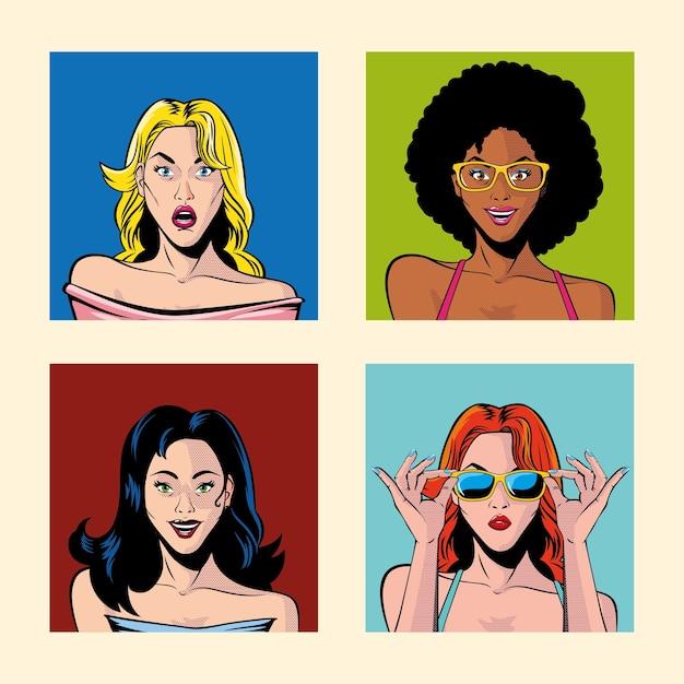 Zestaw portretów kobiet, projektowanie ilustracji w stylu pop-art