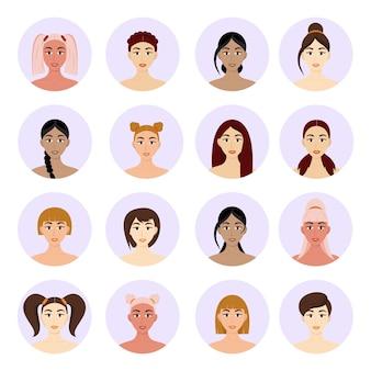 Zestaw portretów kobiet z różnymi fryzurami. piękne młode brunetki dziewczyny. wektor na białym tle. styl kreskówki.