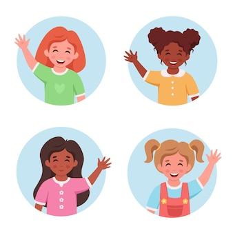 Zestaw portretów małych dziewczynek w okrągłym kształcie dzieci uśmiechnięte i machające ręką