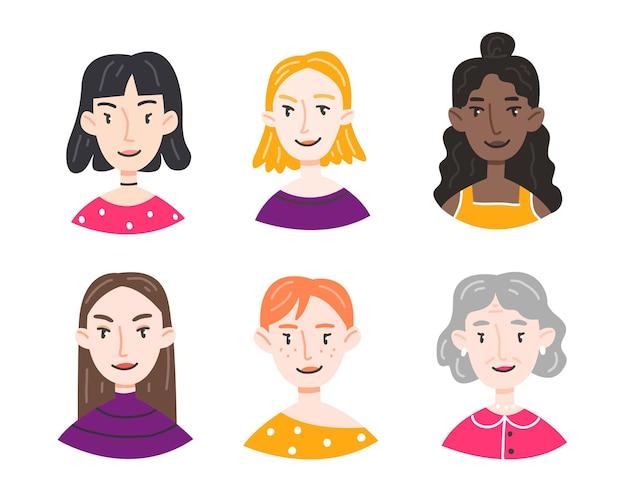 Zestaw portretów różnych kobiet i dziewcząt w stylu kreskówka na białym tle