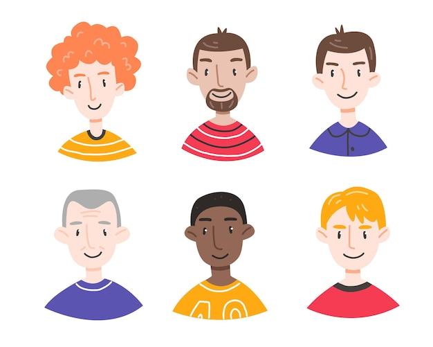 Zestaw portretów różnych mężczyzn w stylu cute cartoon na białym tle