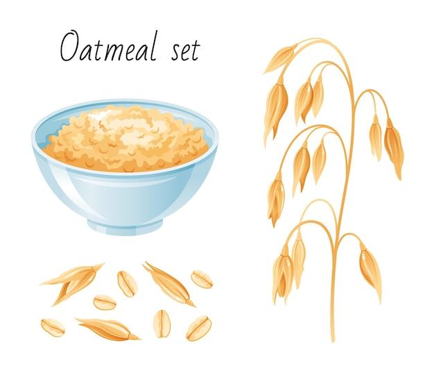 Zestaw posiłków owsianych. miska, płatki owsiane do uszu. kubek śniadaniowy z kaszą owsianą, musli, nasionami. styl kreskówki.