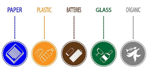 Zestaw posortowanych śmieci. różne rodzaje śmieci: organiczne, plastikowe, papierowe, szklane, elektrośmieci. sortowanie śmieci. ikony linii sortowania odpadów. sortowanie recyklingu. recykling zbiórki segregacji śmieci. wektor
