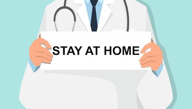 Zestaw postać z kreskówki lekarz ze znakiem i pozostać w domu tekst.