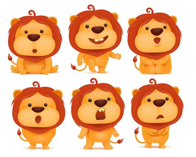 Zestaw postać z kreskówki lew emoji.