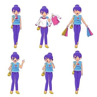 Zestaw postać z kreskówki młoda piękna dziewczyna robi zakupy ilustracja