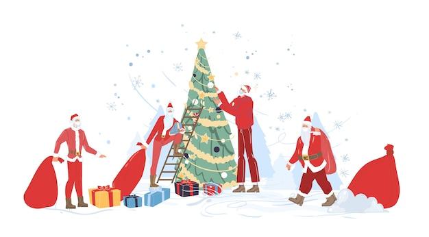 Zestaw postać z kreskówki świętego mikołaja na zewnątrz z czerwoną torbą, choinką, pudełkami na prezenty w okresie zimowym