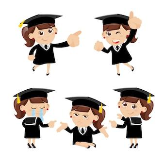 Zestaw Postaci Absolwentów W Różnych Pozach Premium Wektorów