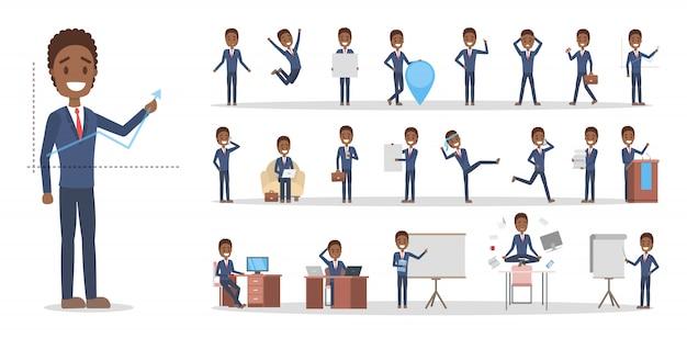 Zestaw postaci afrykańskiego biznesmena lub pracownika biurowego w różnych pozach, twarzy emocji i gestów. pracujący mężczyzna w niebieskim garniturze. ilustracja