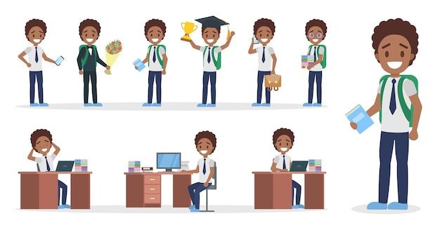 Zestaw postaci afrykańskiego chłopca ze szkoły w garniturze z różnymi pozami, emocjami twarzy i gestami. ilustracja na białym tle płaski wektor