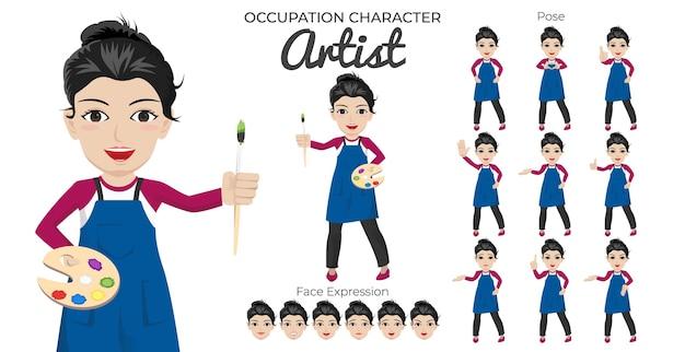 Zestaw postaci artystki z różnymi pozami i wyrazem twarzy