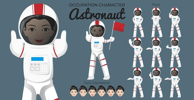 Zestaw postaci astronautki z różnymi pozami i wyrazem twarzy
