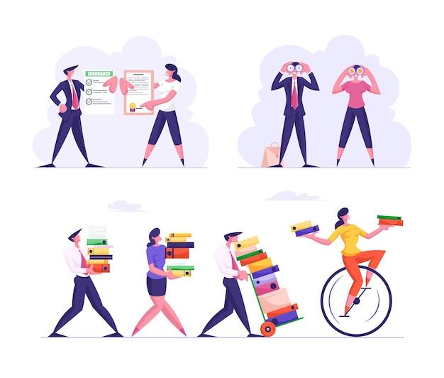 Zestaw postaci biznesowych przeciążonych pracą zawiera ogromne stosy folderów