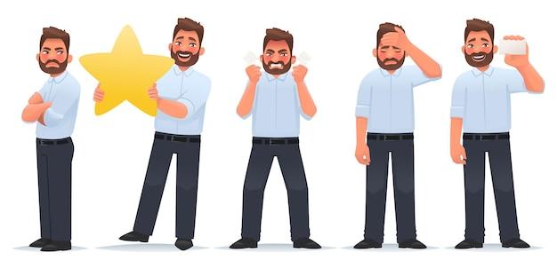Zestaw postaci człowieka biznesmen z uczuciem zazdrości z gwiazdą i ocenia pracę zły zmęczony