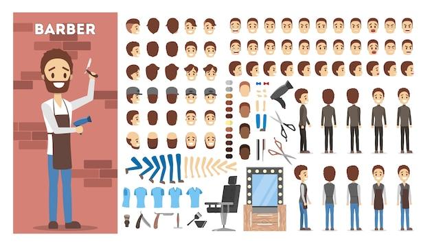 Zestaw postaci do animacji fryzjera z różnymi widokami