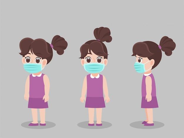 Zestaw postaci dzieci dziewczyna nosi ochronną maskę medyczną, aby zapobiec wirusowi
