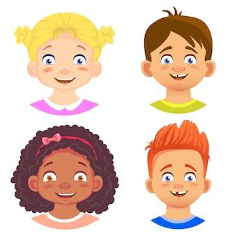 Zestaw postaci dziewcząt i chłopców