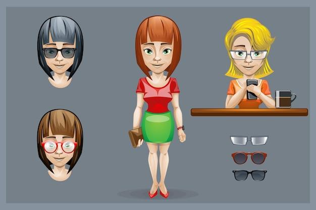 Zestaw postaci dziewczyny z różnymi fryzurami i okularami.