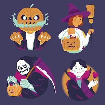 Zestaw postaci halloweenowej wiedźmy, ponurego żniwiarza, wampira, dyni z latarnią jack o z cukierkami
