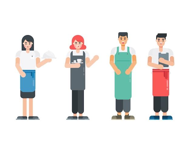 Zestaw postaci kelnerki. postacie pracowników restauracji w stylu płaskiej. ilustracja.