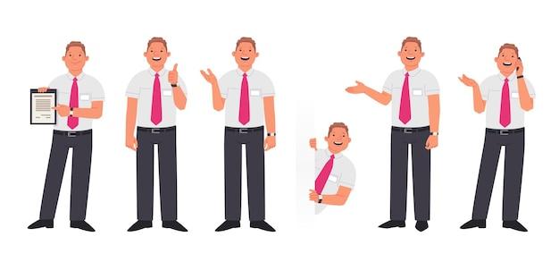 Zestaw postaci kierownika lub pracownika firmy w różnych działaniach. uśmiechnięty mężczyzna pokazuje umowę, gestykuluje, podgląda i rozmawia przez telefon. ilustracja wektorowa w stylu płaski