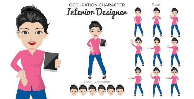 Zestaw postaci kobiecej projektantki wnętrz z różnymi pozami i wyrazem twarzy