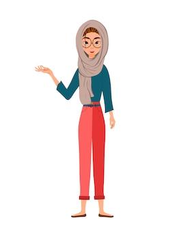 Zestaw postaci kobiecych. dziewczyna wskazuje na prawą rękę z boku. ilustracja.