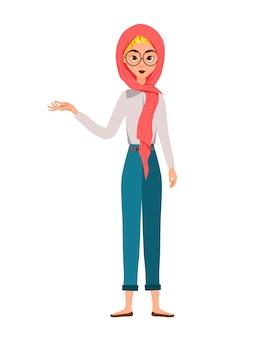 Zestaw postaci kobiecych. dziewczyna wskazuje prawą rękę na bok.