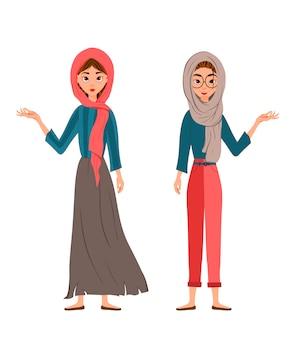 Zestaw postaci kobiecych. dziewczyny wskazują prawą rękę na bok.