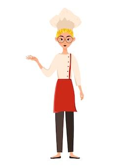 Zestaw postaci kobiecych. kobieta kucharz wskazuje na rękę z boku. ilustracja.